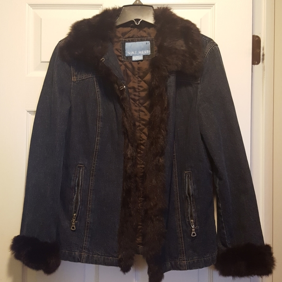 Nine West fur trimmed jean jacket